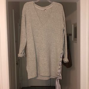 Free people oversized sweater dress with bow